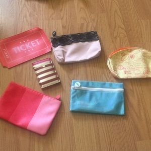 Collection of 5 Cosmetic Bags W/ Bonus Wallet